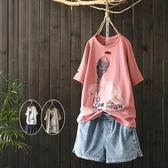 短袖T恤-卡通印花破洞有型女打底衫3色73sj6【巴黎精品】