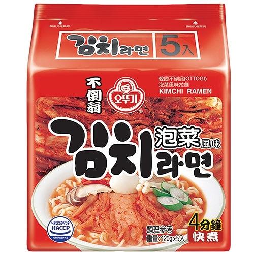 韓國不倒翁泡菜拉麵120g x5包【愛買】