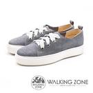 【南紡購物中心】WALKING ZONE (女)寬綁帶質感刷色鬆糕鞋-灰(另有藍)