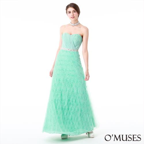OMUSES全尺碼 * 立體花朵馬甲式綁帶婚紗長禮服*