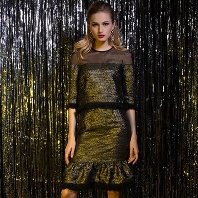 歐根紗拼接五分袖上衣+短裙(兩件套)-歐美時尚修身包臀魚尾女裙裝73lk11【巴黎精品】