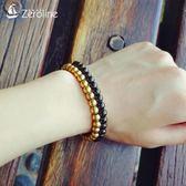 手鍊 手工金色黑色6MM鈦鋼珠子男士手鏈手串潮男女情侶配飾首飾品
