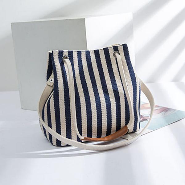 側背包 素色 條紋 帆布包 斜挎包 水桶包 多樣式 肩帶 手提包--手提/單肩/斜背【ME1010】 BOBI  09/26