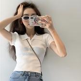 韓版復古小翻領短袖針織T恤衫女2020夏季網紅修身顯瘦短款上衣ins
