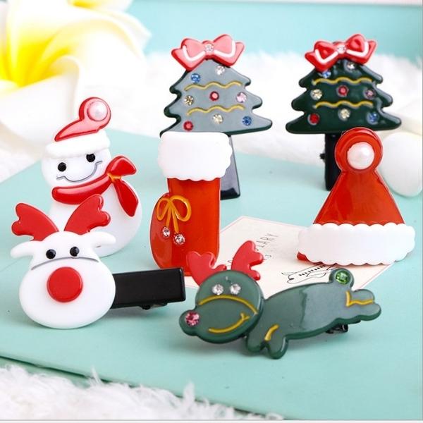 ►聖誕禮物 亞克力聖誕帽劉海夾髮夾【B5023】