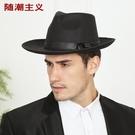 禮帽男大檐紳士帽復古上海灘帽子新郞結婚帽...
