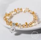 S925純銀異形黃水晶手鍊女甜美太陽花向日葵水晶手鍊手環飾品超級爆品