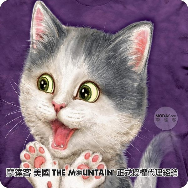 【摩達客】(現貨)美國進口The Mountain 太棒了貓咪 喵嗚系列短袖女版T恤精梳棉環保染(YTM501174168008)