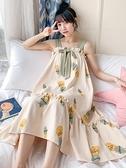 帶胸墊睡裙女夏季純棉長款清新可愛吊帶睡衣夏天薄款公主風家居服 韓國時尚週 免運