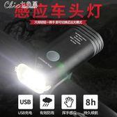 自行車燈山地車前燈強光手電筒USB充電防水騎行裝備配件「Chic七色堇」