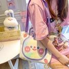 IG風少女心兔子單肩包側背包可愛卡通創意涂鴉小熊布包女包布袋包背包【小獅子】