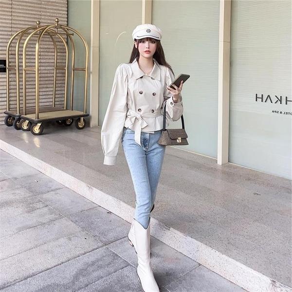 限時特銷 雙排扣優質秋季新款韓版百搭顯瘦時尚收腰短款純色簡約風衣外套女