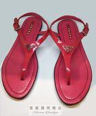 【雪曼國際精品】Prada 亮皮+牛皮桃紅色涼鞋(二手商品9成新)