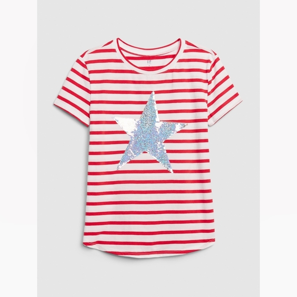 Gap女童可撥動亮片圓領短袖T恤577855-紅色條紋