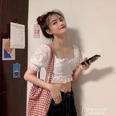 雪紡衫 夏季新款韓版洋氣蕾絲泡泡袖短款雪紡衫女超仙甜色上衣潮  【新年好】
