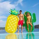 水上坐騎菠蘿浮充氣墊漂浮床游泳圈【洛麗的雜貨鋪】