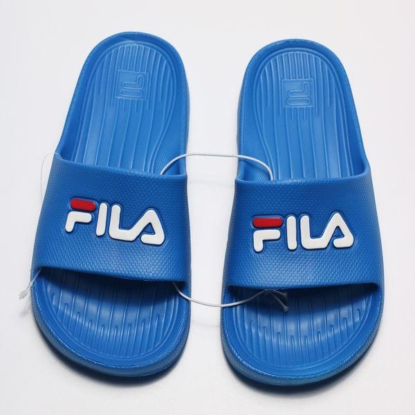 FILA (偏小建議大一號) 基本款 寶藍 白 LOGO 膠拖 防水 拖鞋 男女 (布魯克林) 4S355Q321