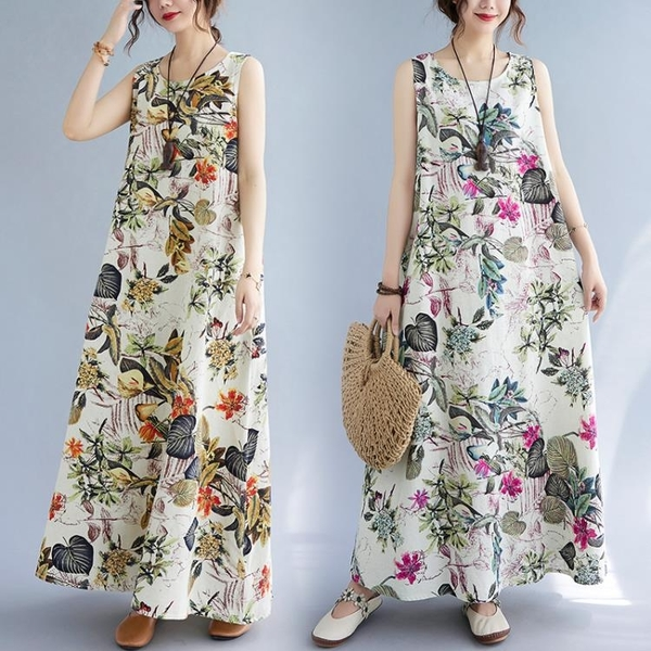 中大尺碼 無袖洋裝 復古印花無袖連身裙寬鬆大碼遮肚子顯瘦休閒圓領套頭長裙子女夏裝