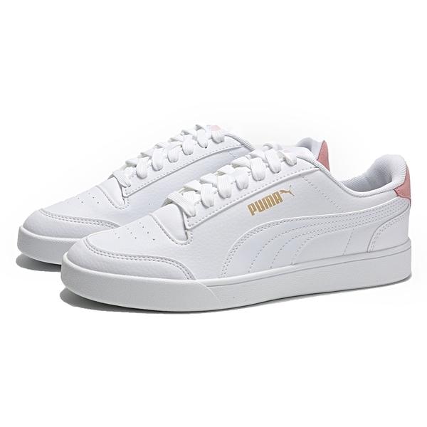 PUMA 休閒鞋 SHUFFLE 白 皮革 後跟粉 麂皮 金LOGO 女 (布魯克林) 30966802