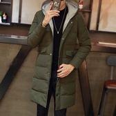 夾克外套-連帽冬季保暖中長版純色夾棉男外套2色73qa13[時尚巴黎]