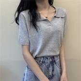 Polo領針織衫女夏季韓版修身百搭短袖打底衫顯瘦套頭bm短款上衣潮 雙11提前購