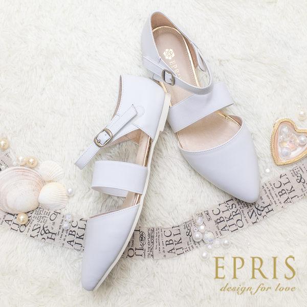 現貨 MIT小中大尺碼涼鞋推薦 簡約女神 全真皮柔軟平底羅馬鞋21-25.5 EPRIS艾佩絲-時尚白