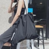 束口袋抽繩袋飄帶後背包可單肩大容量防水健身包 快速出貨