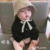 夏款兒童草帽韓國寶寶0-2歲遮陽防曬帽蕾絲繫帶帽子水水子 小確幸生活館