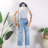 夏季新款簡約純色V領百搭上衣修身顯瘦韓版甜美針織衫女