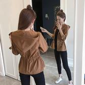 外套 2020秋裝新款收腰小外套女百搭棒球服休閒夾克上衣連帽短款薄外套