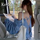 克妹Ke-Mei【AT67230】歐 渡假風美背摟空蝴蝶結立領牛仔襯杉外套