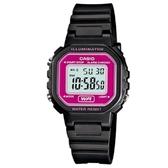 【CASIO】 小巧方形復古電子錶-黑X桃紅面(LA-20WH-4A)