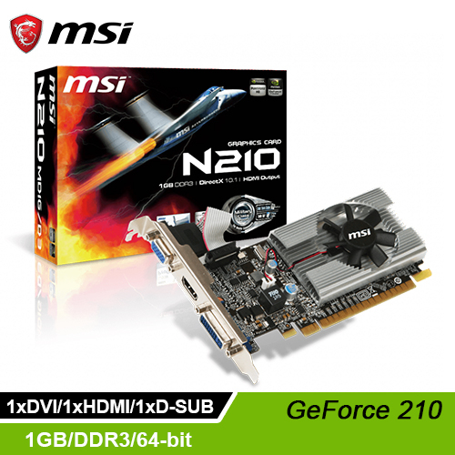 【msi 微星】GeForce 210  N210-MD1G/D3 顯示卡