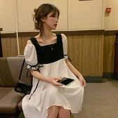 洋裝娃娃裙連身裙M-3XL撞色拼接繫帶短袖連衣裙1F037.517一號公館