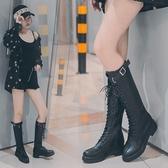 長靴 高筒靴女2019秋季新款及膝靴系帶長靴騎士瘦靴平底網紅靴子女潮