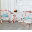 現貨鐵藝耐用餐桌椅室內秋千椅酒吧家用餐椅網紅咖啡廳椅餐廳椅子【頁面價格是訂金價格】