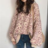 (全館一件免運費)DE SHOP~(T-8445) 寬鬆感豹紋印花澎袖毛衣