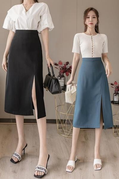 半身裙不對稱開叉垂感半身裙中長款春夏季時尚長裙T617依佳衣
