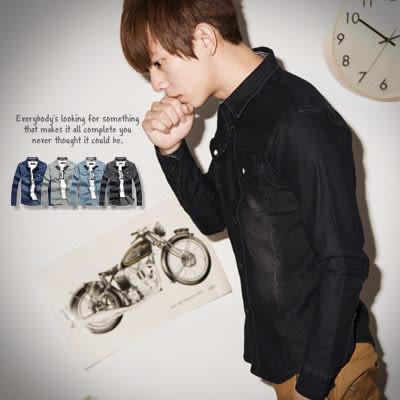 柒零年代【N8759J】帥氣穿搭簡約厚實質感刷色長袖牛仔襯衫(SH6103)hipster