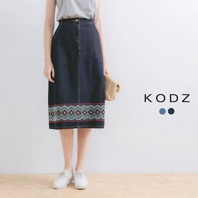 東京著衣【KODZ】刺繡牛仔長裙-S.M(170368)