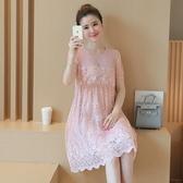 孕婦洋裝2019夏季新款時尚款蕾絲上衣寬鬆潮媽減齡孕婦時尚花邊DC291【野之旅】