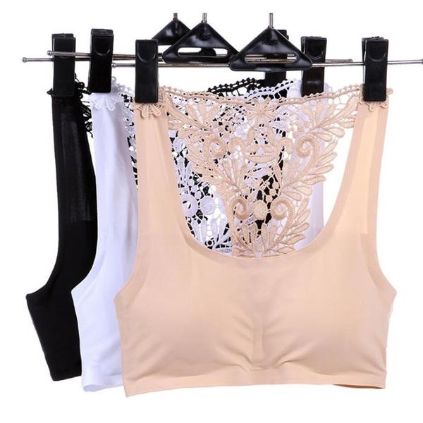 冰絲抹胸薄款一片式無痕無鋼圈文胸性感小胸胸罩舒適透氣少女內衣1入