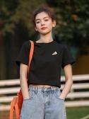 短袖T恤墨錦刺繡短款t恤女短袖2020年新款夏季寬鬆韓版網紅超火上衣ins潮 小天使
