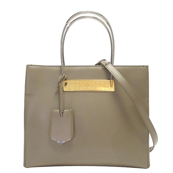 BALENCIAGA 巴黎世家 褐色羊皮鋼索造型手提肩背 Cable Shopper Tote Bag【BRAND OFF】