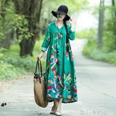 民族風棉麻風大擺長裙女秋裝復古文藝印花寬鬆大碼亞麻長袖連身裙 依凡卡時尚