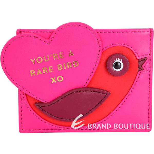 Kate Spade Be Mine Rare Bird 愛心鳥造型卡夾(桃紅色) 1711120-41