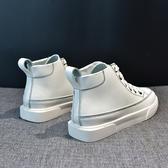 小白鞋女2020新款夏季百搭網紅學生夏款潮鞋ins街拍高幫厚底板鞋 快速出貨