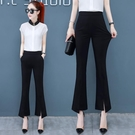 冰絲薄款微喇褲女2021夏季新款女褲九分寬鬆黑色褲子休閒喇叭西褲 果果輕時尚