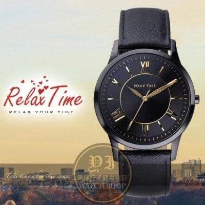 【南紡購物中心】Relax Time關詩敏代言經典英倫風皮帶腕錶-金/IP黑/36mm/RT-58-8L