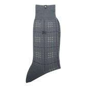 BURBERRY毛料格紋刺繡戰馬LOGO紳士襪(灰藍/紫)088905-104